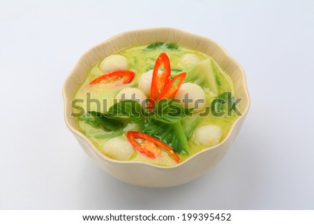 Thai Green Curry Soup, delicious thai food - stock photo