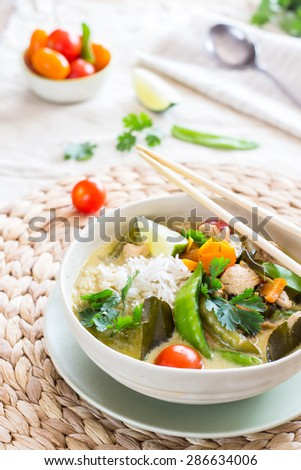 Thai green curry with chicken - stock photo