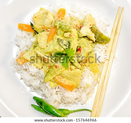 Thai green curry with Jasmine rice.