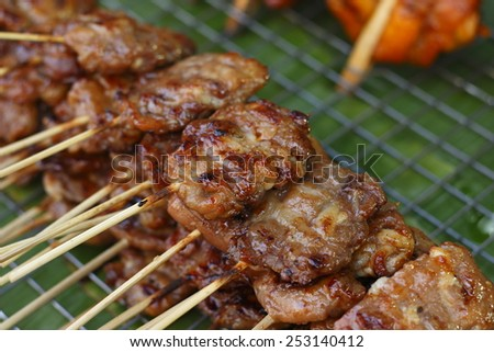 thai grilled pork for sale in market - stock photo
