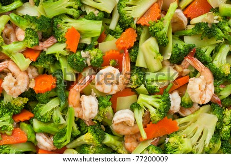 Thai healthy food stir-fried broccoli, carrot and shrimp