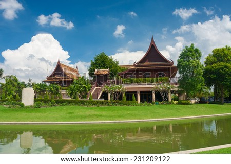 Thai House Style and blue sky of Thailand - stock photo