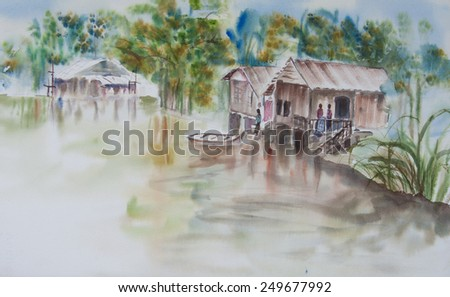 Thai houses beside canal and unique life style in countryside of Thailand ; Original watercolor painting - stock photo