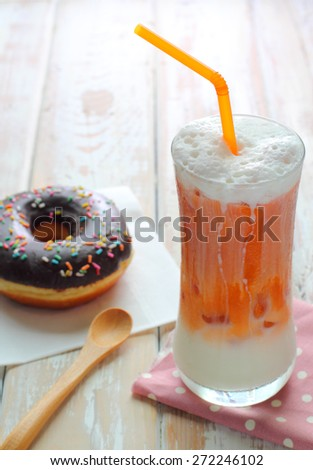 Thai ice latte milk tea - stock photo