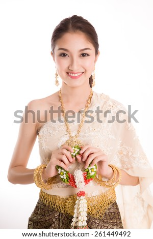 Thai Lady in vintage original Thailand attire - stock photo