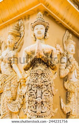 Thai Lanna molding art on the wall, Thailand - stock photo