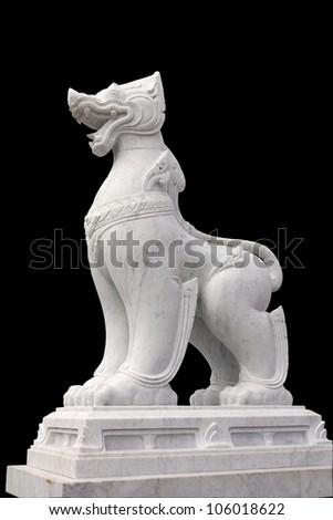 Thai Lion Statue, Isolated on black background. - stock photo