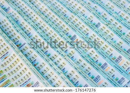Thai lottery ticket background. - stock photo
