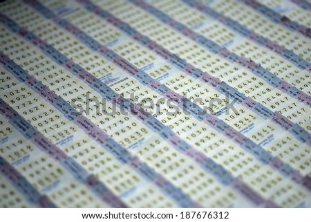 Thai lottery tickets sold at lottery ticket stalls in Bangkok. - stock photo
