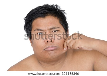 Thai man disgusted face on white background - stock photo