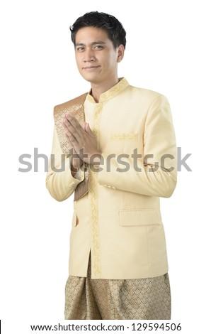 Thai man on white background - stock photo