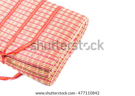 Thai mat made of plastic isolated on white background