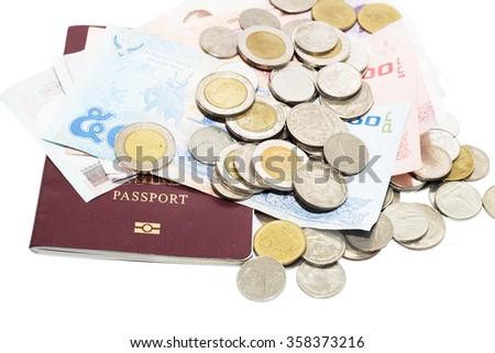 Thai money and passport ,  isolated on white  - stock photo