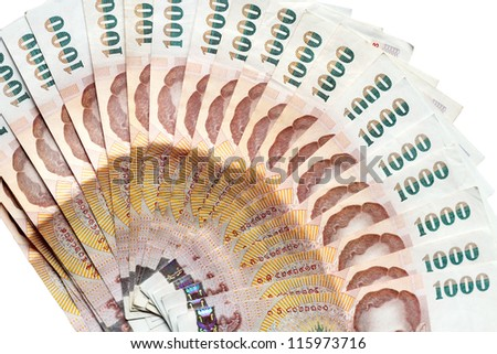 Thai money isolated on white background. - stock photo
