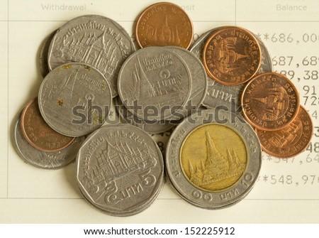 Thai money on Saving Account Passbook. - stock photo