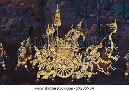 Thai Mural of Ramayana in temple, no potential trademark or copyright infringement in this photo - stock photo