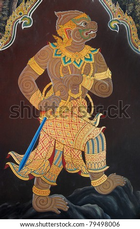 Thai Mural Painting on the wall, Wat Phra Kaew, Bangkok, Thailand (Ramayana story)