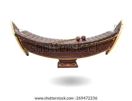 Thai musical instrument (Alto xylophone) on white background,asian instrument - stock photo