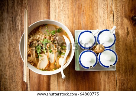 Thai noodle spicy and chopstick. - stock photo