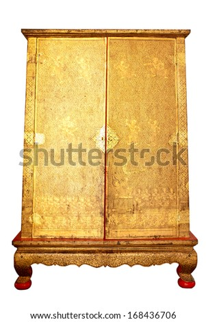 Thai old box cabinet on white background