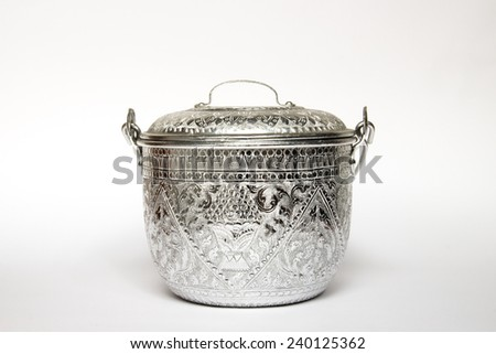 Thai old silver pot with ancient texture  - stock photo
