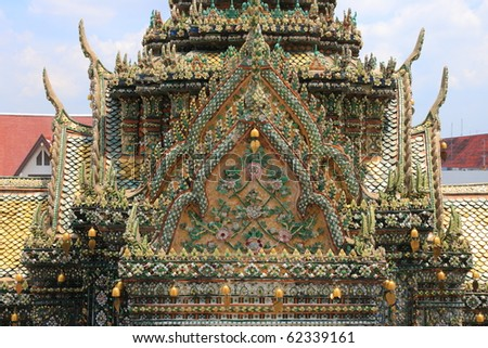 Thai pagoda roof in Arun temple Bangkok. - stock photo