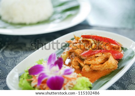 Thai panang curry with steamed rice