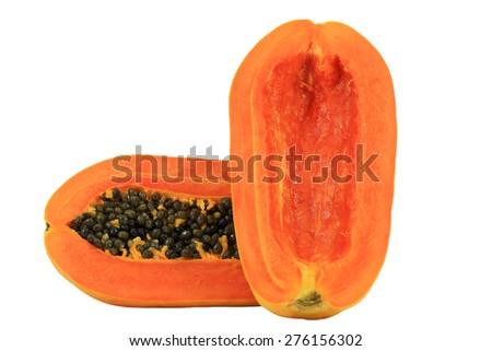 Thai papaya isolated on white background - stock photo