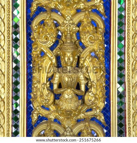 thai pattern at Buddhist temple pillar,Thailand - stock photo