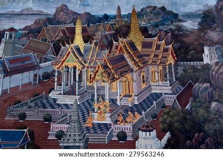 thai pattern,Public Art Painting at Wat Phra Kaew - stock photo