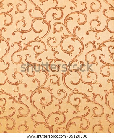 Thai pattern style on the wall in Thailand - stock photo