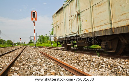 Thai railroad container at a railway station in rural of  Thailand. - stock photo