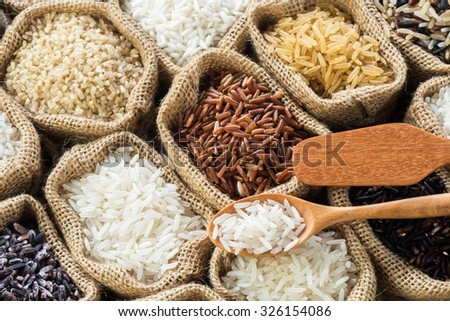 Thai's rice collection in burlap bag - stock photo