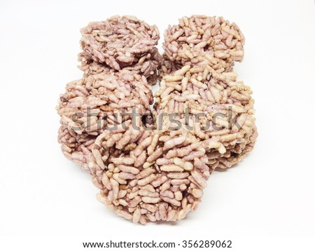 Thai's Rice cracker or rice biscuits on white background - stock photo