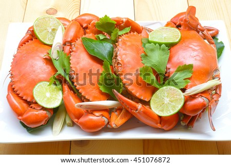 Thai seafood; delicious steamed crab with spicy sauce - stock photo