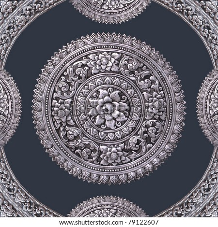 Thai silver Art. Metal relief work pattern, Wat Muen Saen Chiang Mai Thailand - stock photo