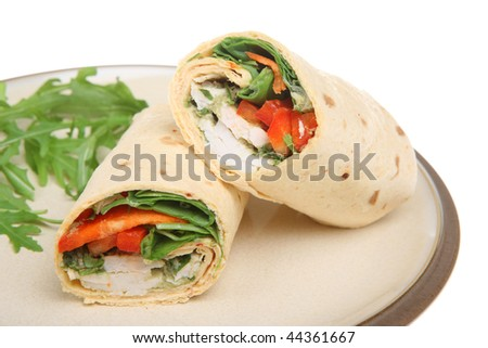 Thai-spiced chicken in a soft tortilla wrap