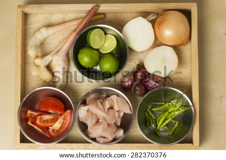 Thai spicy ingredients food background - stock photo