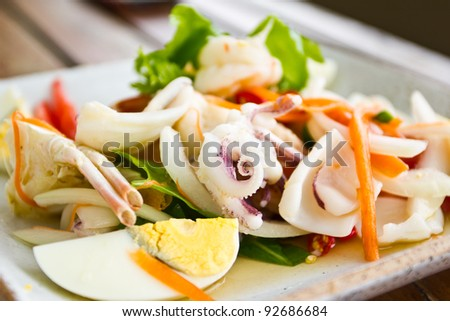 Thai spicy seafood Salad - stock photo