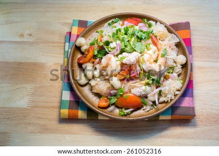 Thai Spicy Seafood Salad with vermicelli or ,yam wun sen, in Thai - stock photo