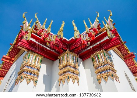 Thai style architecture at Wat Pho, one of the most famous attraction in Bangkok, Thailand. - stock photo