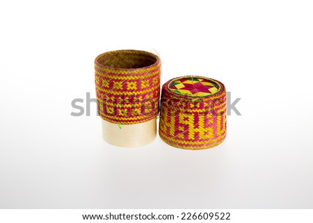 Thai style Bamboo wooden rice container