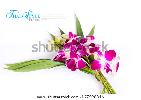 Thai style bouquet on white background with sample text - stock photo