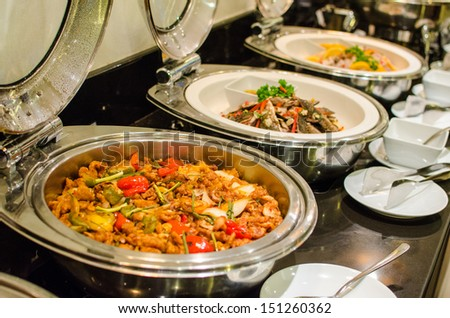 Thai style cuisine , spicy food in buffet set - stock photo