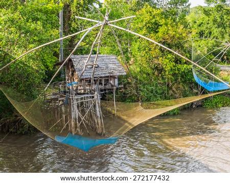 Thai style fishing trap in Pak Pra, Phatthalung, Thailand - stock photo
