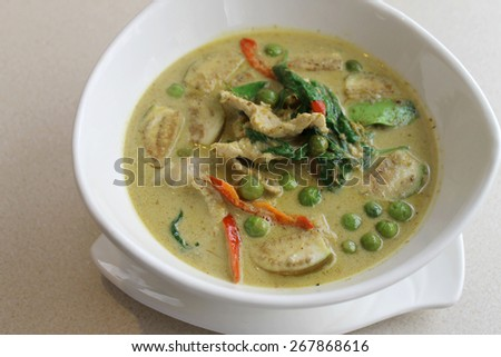 Thai style green curry chicken - stock photo