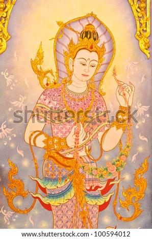 Thai-style murals. - stock photo