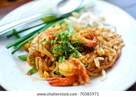 Thai style noodle with fresh shrimp , Pad thai , Thailand - stock photo