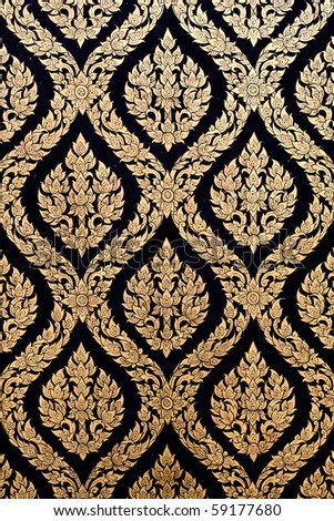 Thai style of Gilded Black Lacquer - stock photo