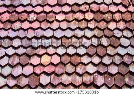 Thai Style Old wooden roof tiles - stock photo